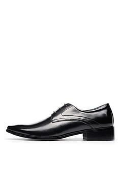 雅痞菱紋,頭層牛皮商務皮鞋-04694-黑色
