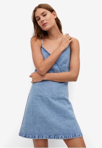 Mango blue Strap Denim Dress 4F096AAEDBE78DGS_1