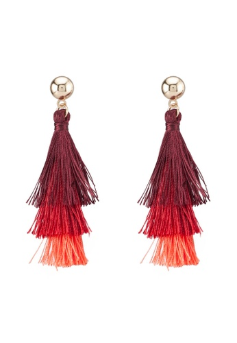 Saturation red and multi Red Layered Tassel Earrings 200ACAC2AC2449GS_1