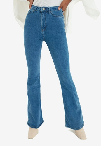Trendyol blue High Waist Flare Jeans AE075AA88CFC10GS_1