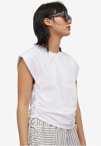 H&M white Drawstring T-Shirt 898DFAACF85E0FGS_1