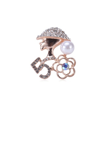 Glamorousky white Fashion and Elegant Plated Gold Beauty Flower Imitation Pearl Brooch with Cubic Zirconia 795D4AC1F6C919GS_1