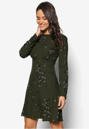 燕子印花長esprit 台中袖連身裙, 服飾, 洋裝