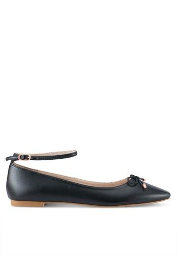 Velvet black Ankle Strap Ballet Flats E03C2SH3824360GS_1