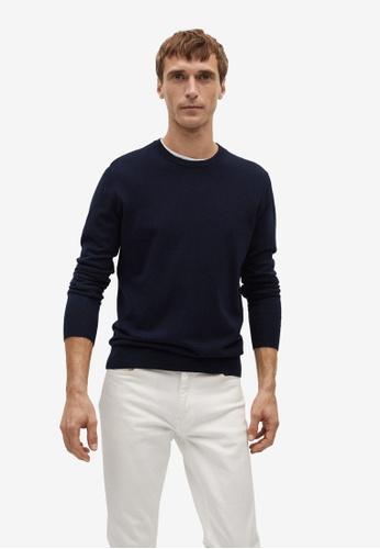 MANGO Man blue Cotton Cashmere-Blend Sweater D2540AAAD3D1D4GS_1