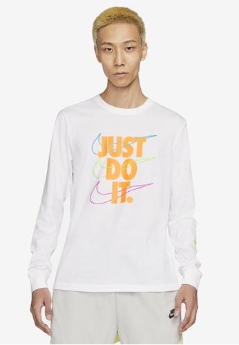 Nike white Men's Long-Sleeve SP Brandmarks Tee BE08CAA15CCDD9GS_1