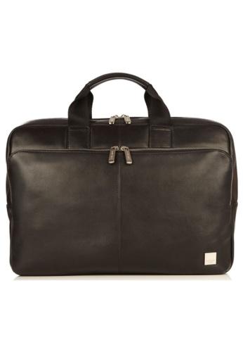 """knomo black Newbury 15"""" Single Zip Leather Briefcase (Black) D3D7FACB8823D6GS_1"""