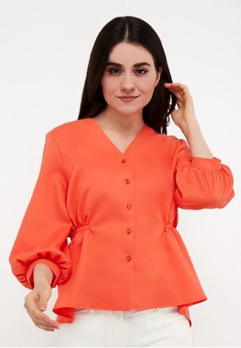 L'more orange Rubber Curse Stitching Blouse 6C998AAC52FDB8GS_1