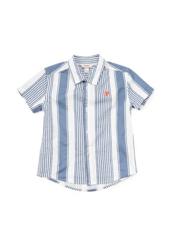 PONEY white Poney Benedict Striped Cotton Poplin Short Sleeve Shirt F0B8BKAF45F77BGS_1