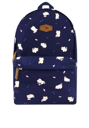 Ripples blue Kittens Canvas Backpack B109AACD8D0BDFGS_1