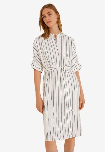Mango white Striped Shirt Dress D95EFAA822FC13GS_1