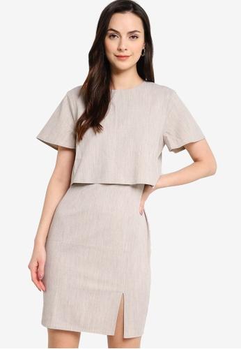 ZALORA WORK beige Double Layer Short Sleeves Dress 3AE60AA335E174GS_1