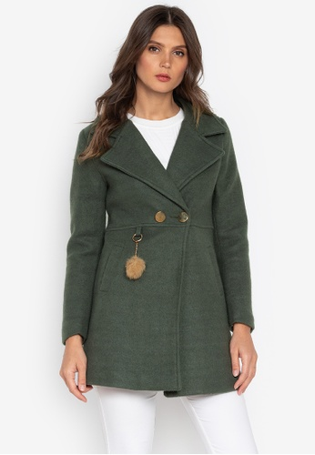 Well Suited green Wool Short Trench Coat AD211AABCC86A1GS_1