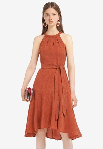 Saturday Club brown Belted Ribbed Dress With Halter Neck 31227AA24AD1A9GS_1