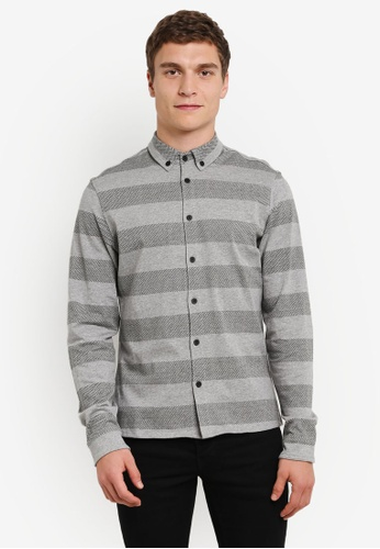 !Solid grey Kahil Bold Striped Flannel Shirt SO701AA0S2UVMY_1