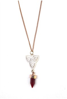 Fire Opal Starred Pointed Crystal Necklace