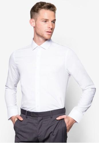 素色合身esprit分店地址長袖襯衫, 服飾, 襯衫