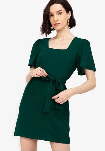 ZALORA WORK green Square Neck Puff Sleeves Dress F4627AA0EC7368GS_1