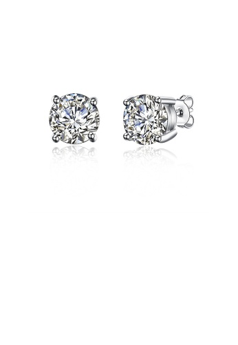 Glamorousky white 925 Sterling Silver Simple Stud Earrings with Cubic Zircon 53F66ACF63BB24GS_1