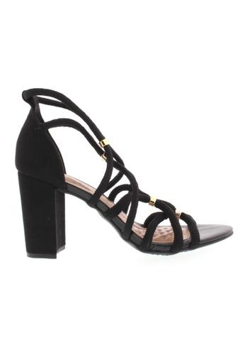 Beira Rio black and gold Classy Criss Cross Block Sandal BE995SH66ZURHK_1