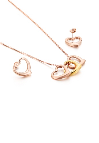 Glamorousky silver Simple and Sweet Plated Rose Gold Hollow Heart-shaped 316L Stainless Steel Necklace and Earrings Set C1EFDAC9CD2346GS_1