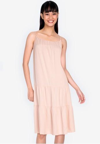 ZALORA BASICS beige Tiered Cami Dress D67E2AA5499E6AGS_1