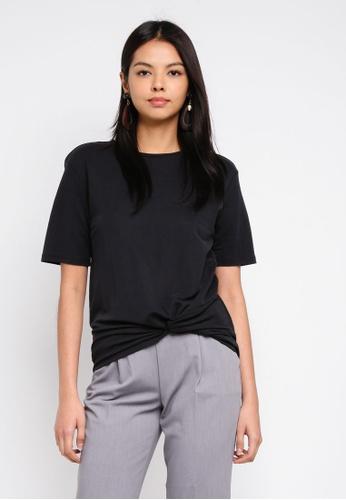 ESPRIT black Short Sleeve Knot Top DCE4AAA93CF495GS_1