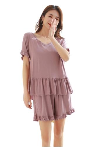 THE LOUNGE EDIT purple Rufla Shorts Set 3F3CEAAA2A9914GS_1