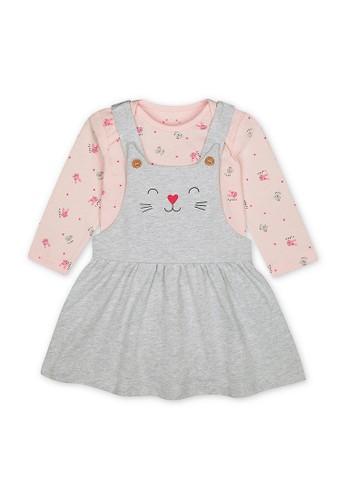 Mothercare grey Mothercare - grey cat pinny dress and pink bunny bodysuit set 7FDB6KAE0F6B1BGS_1