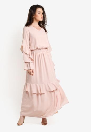 Zalia beige Smock Dress with Frills FFD82AABFF3E77GS_1