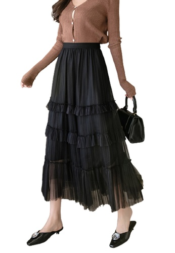 Halo black Layered Net Yarn Pleated Skirt B0892AA4388D8BGS_1