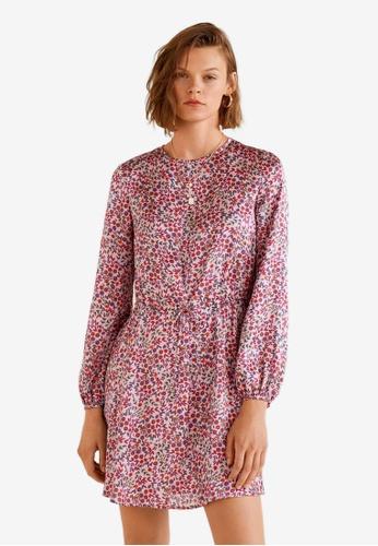 Mango purple Satin Floral Dress C60DFAA59E37FCGS_1