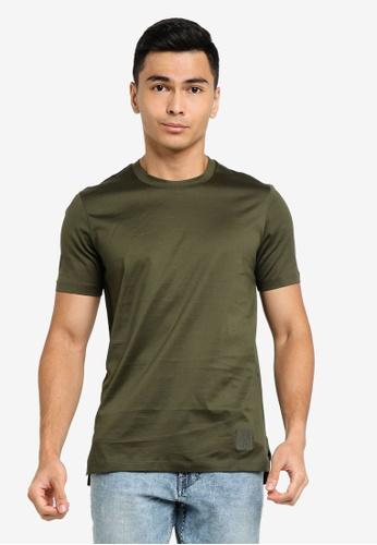 ck Calvin Klein green DOUBLE MERCERISED COTTON CREW TOP WITH LUREX LOGO 2DAA8AA537290EGS_1