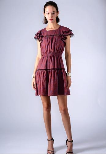 Flavor Viola red LACE-EDGE FLORAL-PRINT DRESS 2FF84AA7F5BCC0GS_1