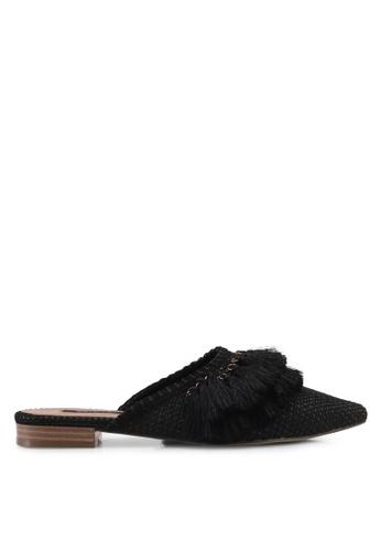 ZALORA black Tassel Slides 29B3ESH685C210GS_1