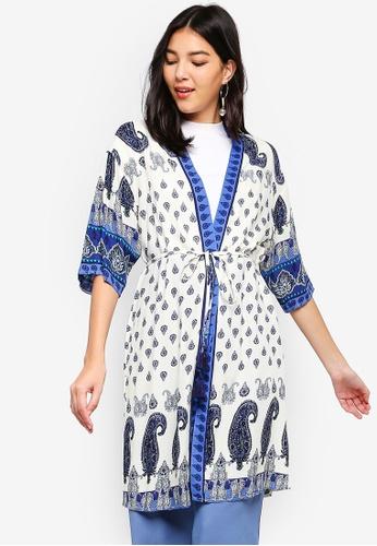 ZALORA white and multi Longline Kimono 9EA28AA9B4011FGS_1