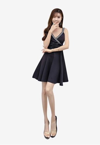 hk-ehunter black Camisole Solid Coloured V Neck A-Line Dress E9554AA9C03D29GS_1
