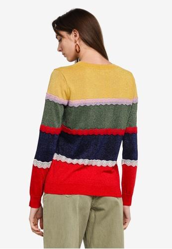 Desigual multi Striped Lurex & Lace Jumper B8BF6AA81DA3DAGS_1