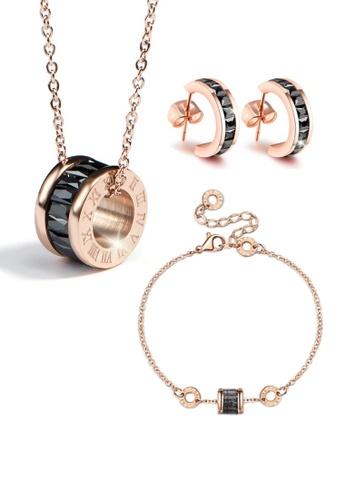 CELOVIS black and gold CELOVIS - Oceane Black Cryolite Necklace + Bracelet + Earrings Jewellery Set 4ADA2ACA974633GS_1
