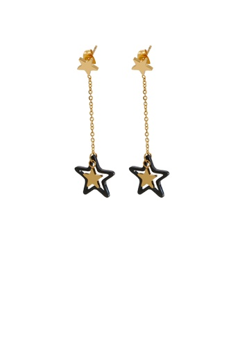 Glamorousky silver Fashion Simple Plated Gold Star Tassel 316L Stainless Steel Earrings 06A94AC4940DD6GS_1