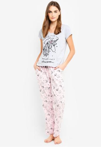 Dorothy Perkins pink Pink Unicorn Glitter Pyjamas E9023AA3C81D34GS_1