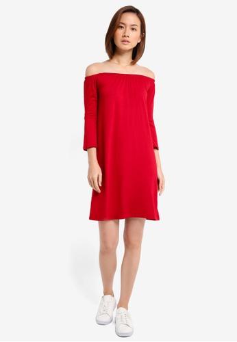 5734f66fd7b4 Buy ZALORA BASICS Essential Loose Off Shoulder Dress With Flared Sleeve