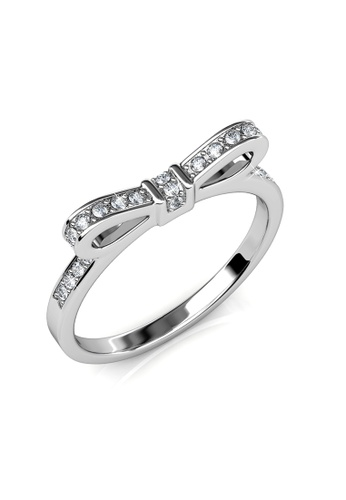 Her Jewellery silver Ribbon Ring (White Gold) - Made with premium grade crystals from Austria 30FF3ACC3B79B3GS_1