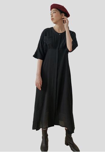 We Enjoy Simplicity black Faye Round Collar Long Dress (Shimmer Black) E3DE9AA4458248GS_1