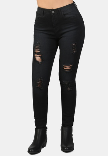 London Rag black Skinny Fit Distressed Jeans EED81AA0C09E93GS_1