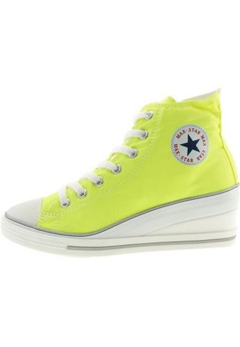 Maxstar 綠色 新款韩国鞋7H-Zip時尚帆布布混合女綠色 US Women Size MA345SH93HFATW_1