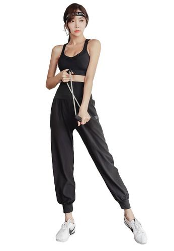 YG Fitness black (2PCS) Quick-Drying Running Fitness Yoga Dance Suit (Bra+Bottoms) CD5E0US3B48A37GS_1
