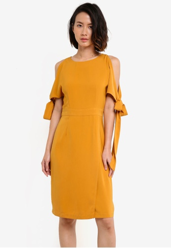 ZALORA yellow Tie Sleeve Dress 676B6AAA0E4BE3GS_1
