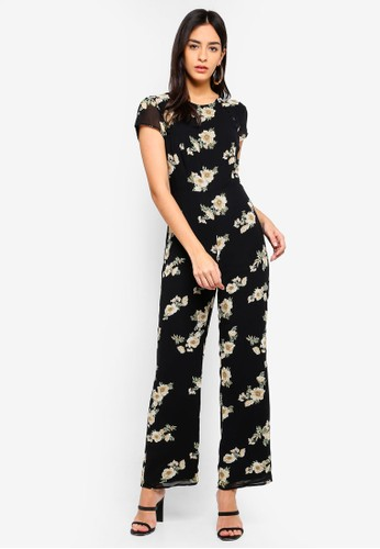 Bardot black and multi Rina Floral Jumpsuit C518DAA376BA84GS_1