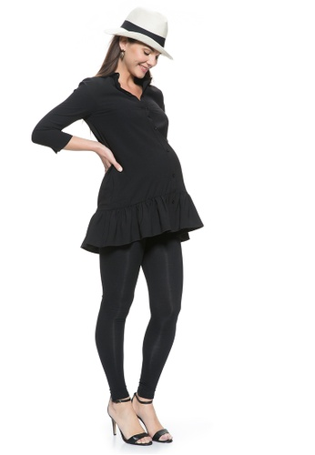 Mayarya black Ruffle Hem Maternity and Nursing Tunic Shirt 573D2AAE5F7CA8GS_1